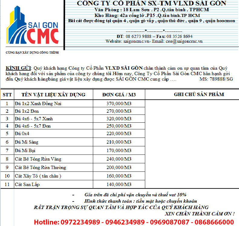 Báo giá cát xây dựng tại quận 2 Tphcm, Bảng báo giá cát xây dựng, bang bao gia cat xay dung