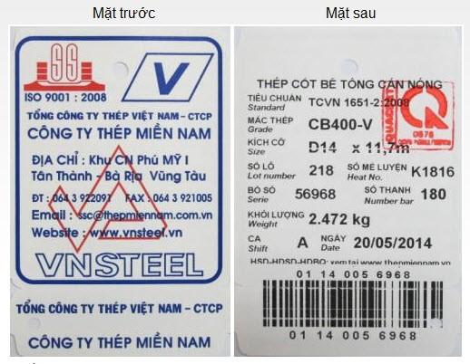 Dấu hiệu nhận biết thép Miền Nam chính hãng thông qua tem nhãn và hóa đơn
